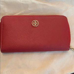 Tory Burch Red Saffiano Leather Full Size Wallet